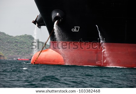 Cargo ship drain water to the Ocean