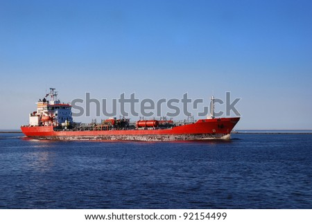 Cargo ship entering port of Riga