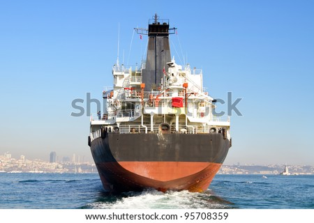 Cargo ship from the backwash