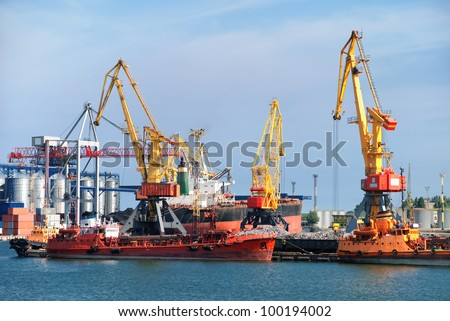 cargo ship in industrial port