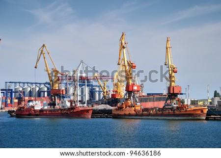 cargo ship in industrial port