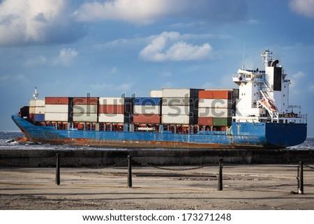 cargo ship in the ocean in the sky