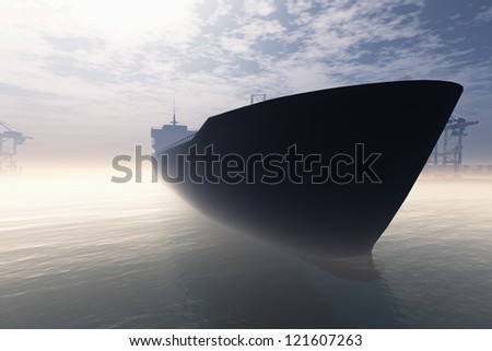 Cargo Ship in Very Foggy Industrial Port 3D render