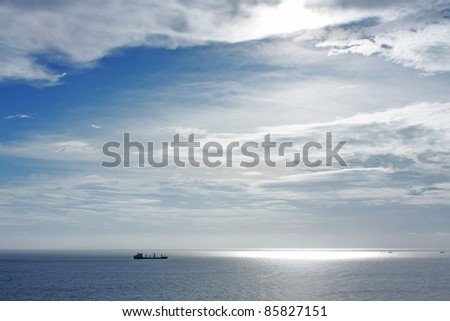 cargo ship in widely sea