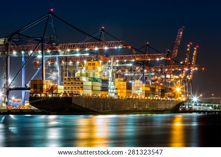 Cargo ship loaded in the New York container terminal as observed from  Elizabeth, NJ