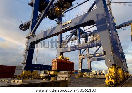 Cargo ship loading containers