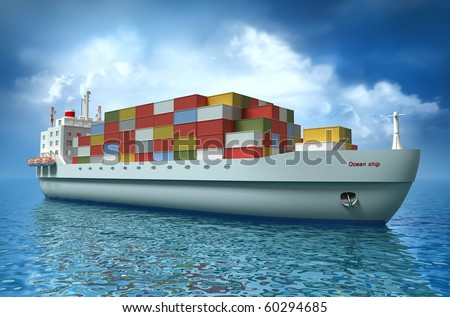 Cargo ship sails across the Ocean. My own design. My own design