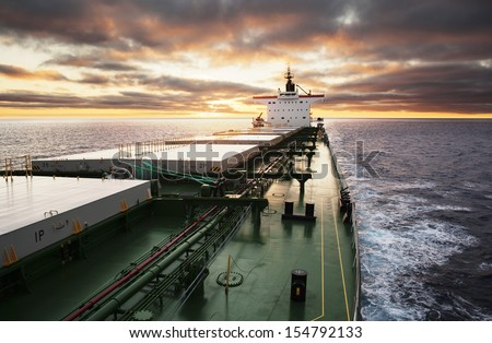 Cargo ship underway viewed from bow