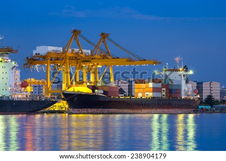 Cargo ship unloading container at port,  twilight time.
