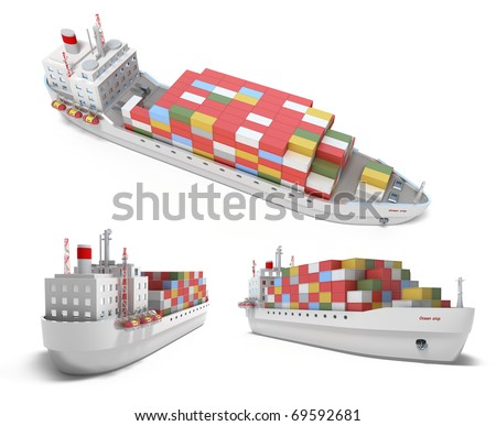 Cargo ship with containers isolated on white. My own design