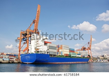Cargo ship with freight containers