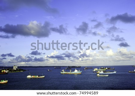 Cargo ships anchored at the harbor in Colon Panama