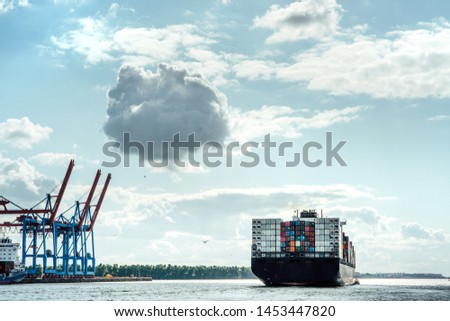Cargo ships at the terminal in Hamburg, Germany