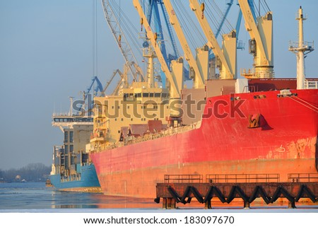 cargo ships (Bulk carriers) loading in cargo terminal of Riga