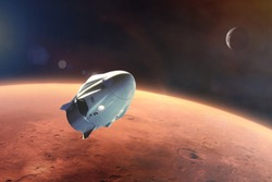 Cargo spacecraft in low-Mars orbit. Elements of this image furnished by NASA.