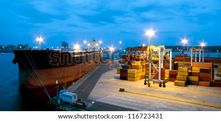 Cargo tanker ship moored in port