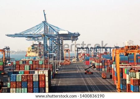 Cargo terminal for transshipment of grain, containers and other cargoes. Jeddah Port, Saudi Arabia. December,2018.