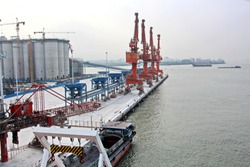 Cargo terminal for unloading grain cargo and containers by shore cranes. Port Guangzhou, China. February, 2019.