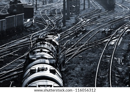 cargo train and industrial railroad view
