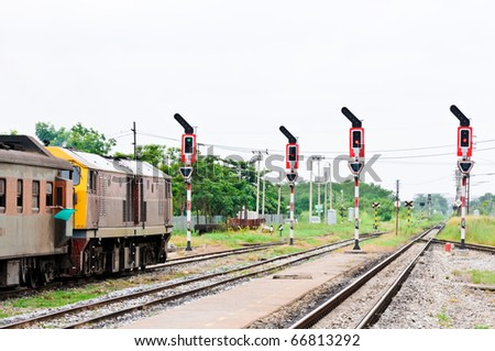 Cargo train leaving the railway yard of Chachoengsao  junction,Thailand