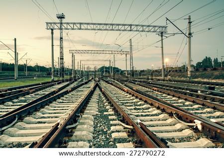 Cargo train platform at sunset. Railroad in Donetsk. Railway station