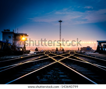 Cargo train platform at sunset with container #143640799