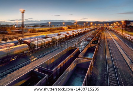 Cargo train platform at sunset with container ストックフォト ©