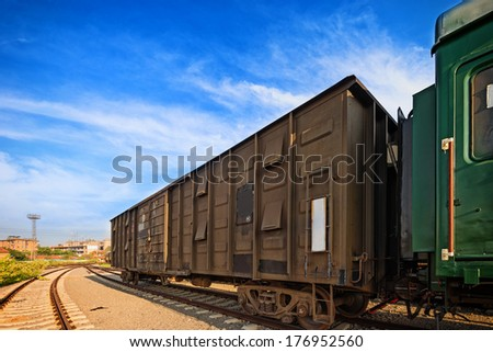 Cargo train platform at sunset with container #176952560