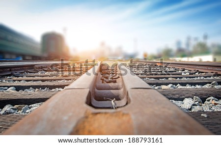 Cargo train platform at sunset with container #188793161