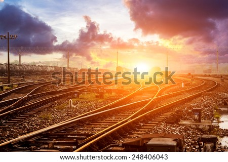Cargo train platform at sunset with container #248406043