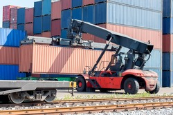 Cargo train platform with freight train container