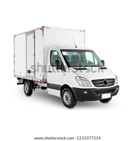 Cargo Truck Isolated on White. Side View of White Delivery Van Car. Modern Refrigerator Lorry Truck. Commercial Heavy Motor Vehicle. Reefer Trailer to Carry Perishable Freight. 3D Rendering