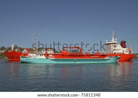 cargo vessel an cude oil vessel