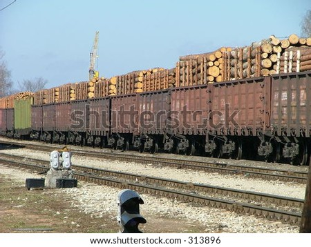 cargo wagons in the train station