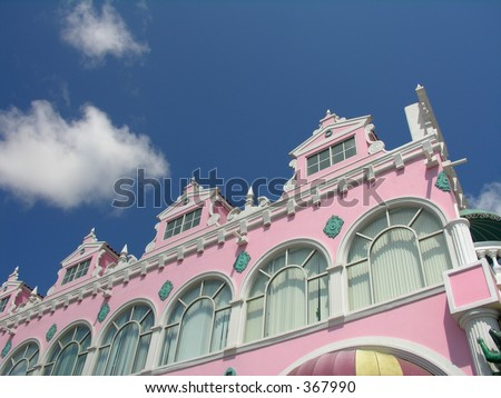Caribbean architecture in Oranjestad / Aruba