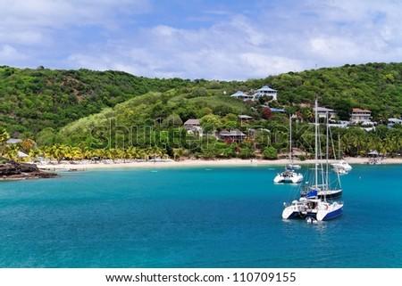Caribbean Bay - Antigua - stock photo