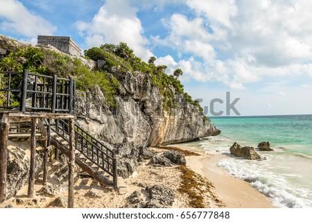 Shutterstock Caribbean beach at Mayan Ruins of Tulum - Tulum, Mexico