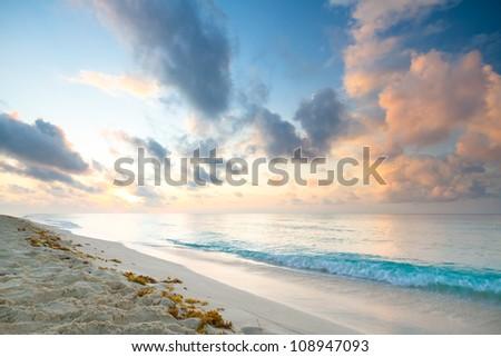 Caribbean beach in Playacar of Mexico - stock photo