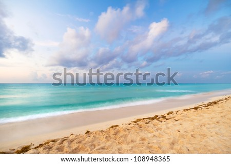 Caribbean beach in Playacar of Mexico