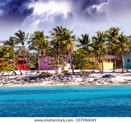 Caribbean beautiful Beach house with coconuts trees, Santo Domingo