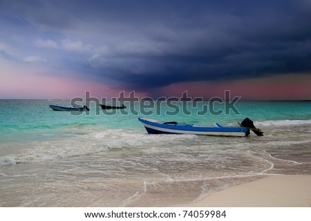 Caribbean before tropical storm hurricane beach boat dramatic scenic