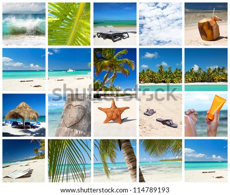 Caribbean collage with different parts of tropical landscape