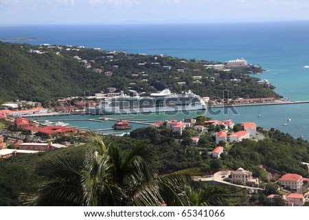 Caribbean Cruise Ship docked in St Thomas