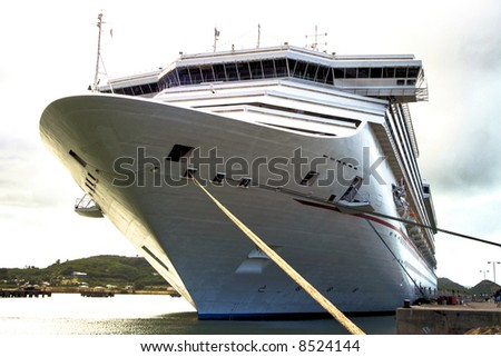 Caribbean Cruise Ship docked on the island of Antigua