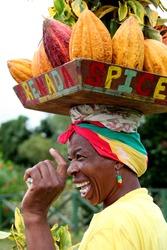 Caribbean flower woman in Grenada.
