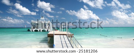 caribbean Landscape - Panorama of Pier and Ferry Boat in a Tropical Ocean, White Sand Beach