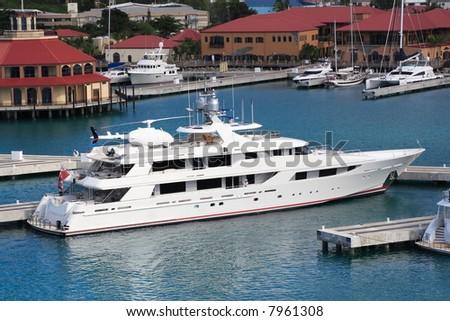 Caribbean Mega Yacht docked on the island of St. Thomas