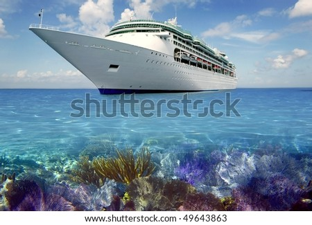 caribbean reef view with cruise vacation boat travel [Photo Illustration]