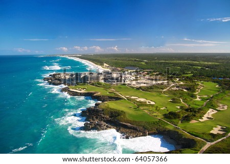 Caribbean sea  from helicopter view, Dominican Republic