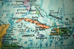 Caribbean sea on a globe